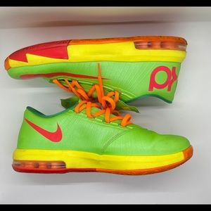 NIKE AIR KD VI 6 'CANDY' GREEN YELLOW RED SNEAKERS
